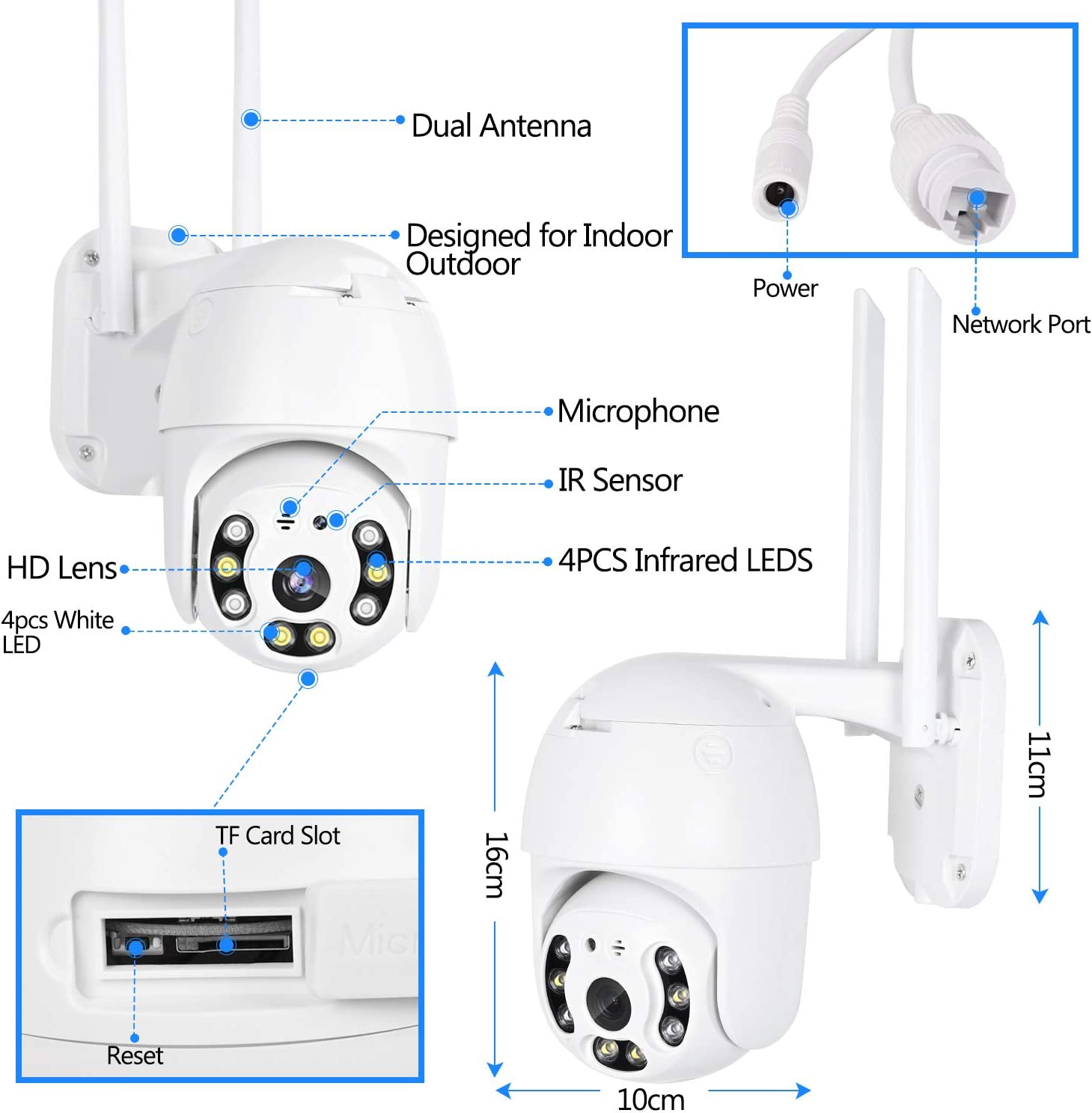 IP66 Waterproof ICsee APP Two-Way Audio Human Detection /& Auto Tracking 5db Camera Pan//Tilt//Zoom with Night Vision WiFi Camera Security Camera Outdoor HD 1080P CCTV Dome IP Camera