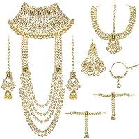 Aheli Ethnic Indian Traditional Bollywood Fashion Kundan Bridal Jewelry Set with Choker Earrings Maang Tikka Hathphool…