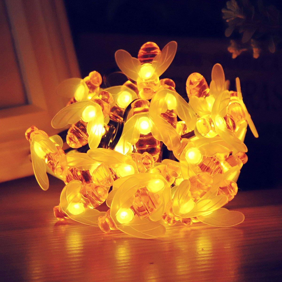 Berocia Imperméable Abeille Guirlande Lumineuse Interieur Solaire Exterieur  LED 6.5 Mètre 30 LED 8 Modes Pour Chambre Enfant ...