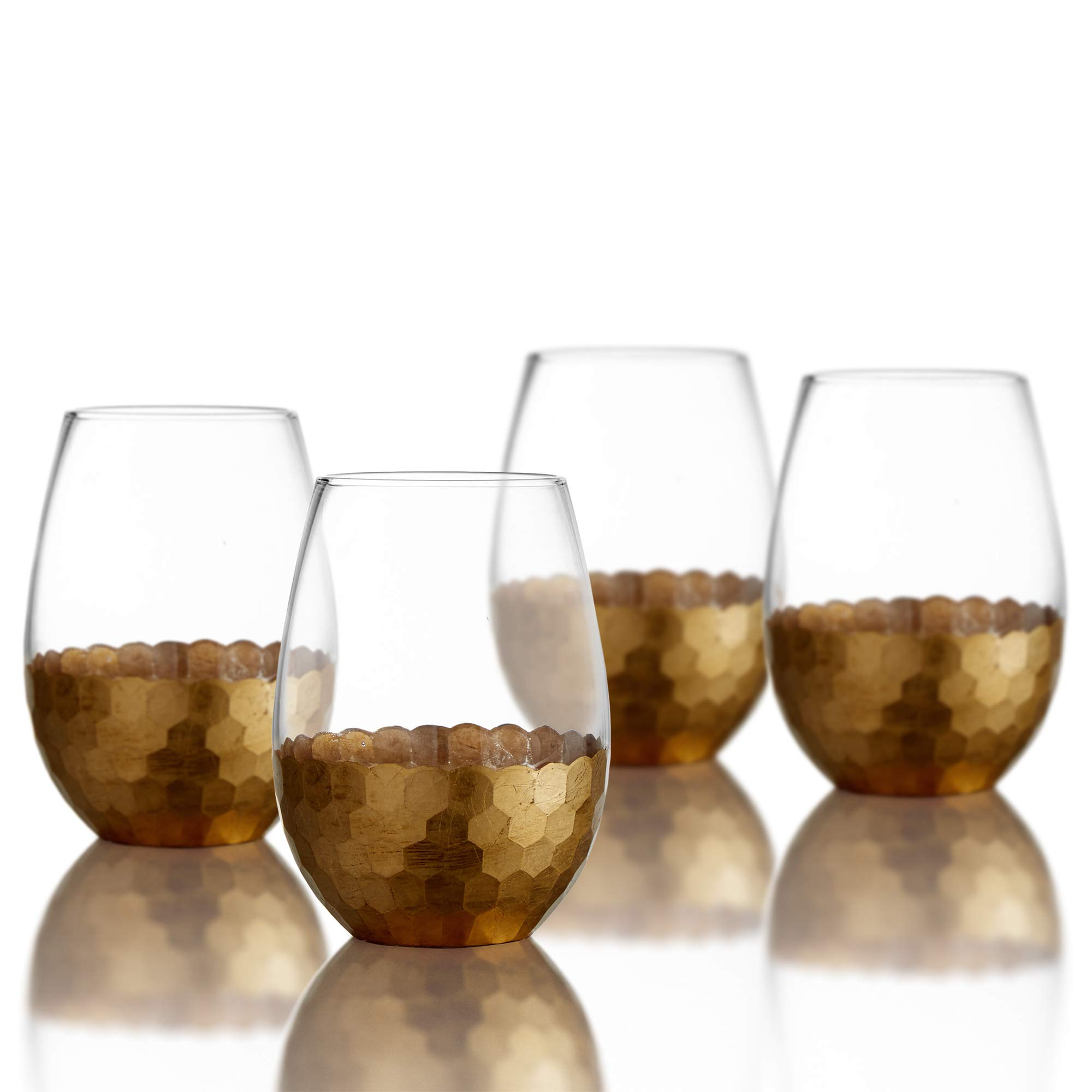 Fitz and Floyd Daphne Stemless Wine Set of 4 – Elegant Lead-Free Matching Drinkware for Everyday & Entertaining –Modern Glasses-an Ideal Gift for Weddings & Holidays, 20 oz, Gold