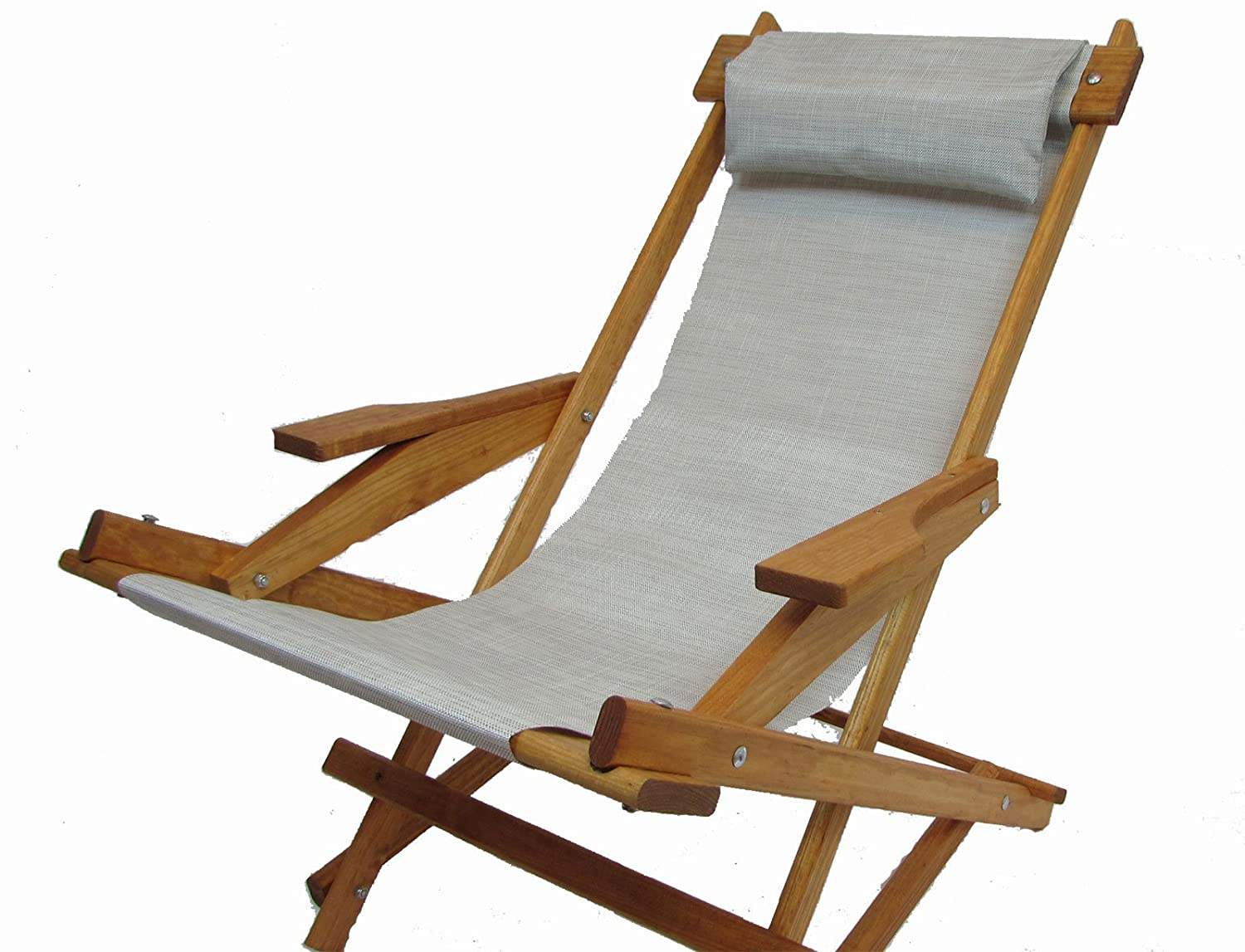 Wooden Folding Rocking Chair with All Weather Sling Neutral