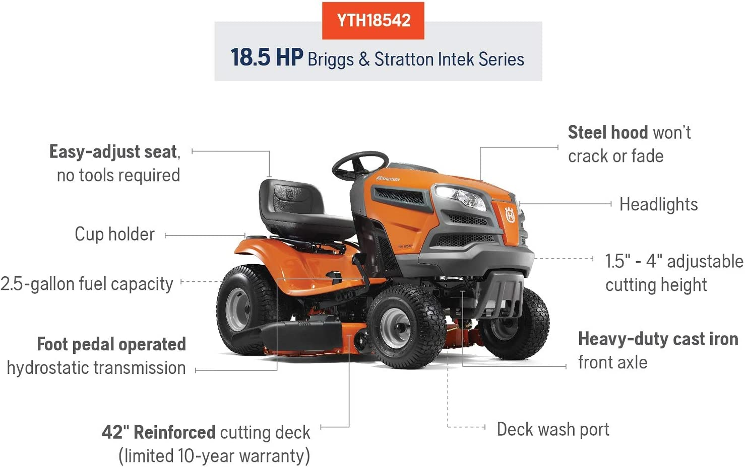 Amazon.com: Husqvarna yth18542 Carb equitación patio Tractor ...