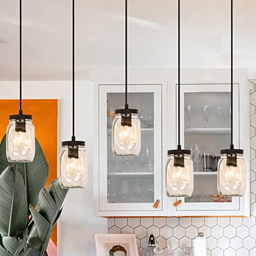 Glass Mason Jar 5-Light Fixture
