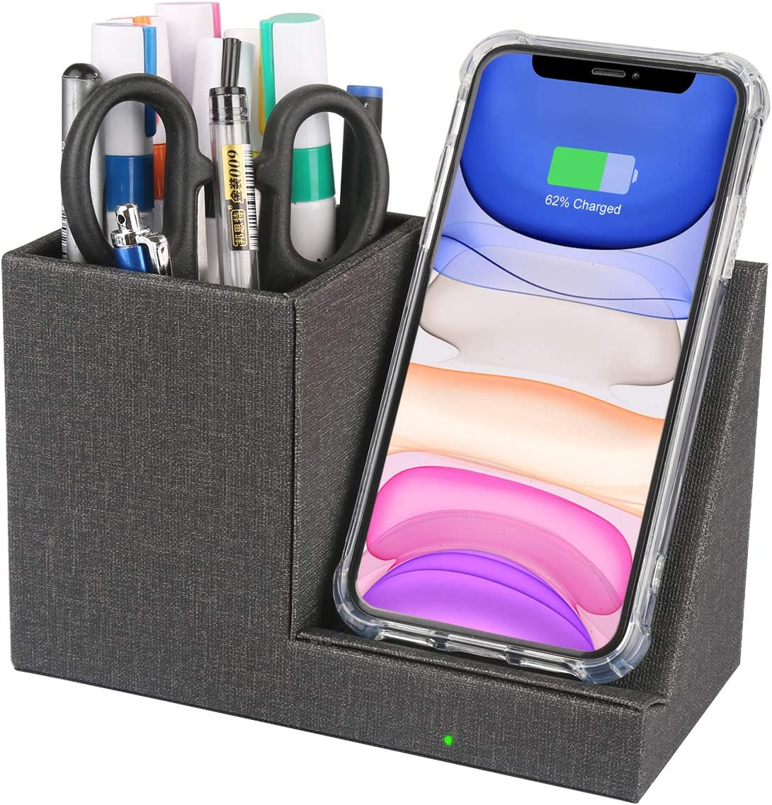 VHEONETE 10W Fast Wireless Charger Desk Stand Organizer, Wireless Charging Station, Desk Storage, Qi Certified Charging Dock for iPhone 11/Xs MAX/XR/XS/X/8, Samsung S10/S9/S9+/S8/S8+, Pen Holder