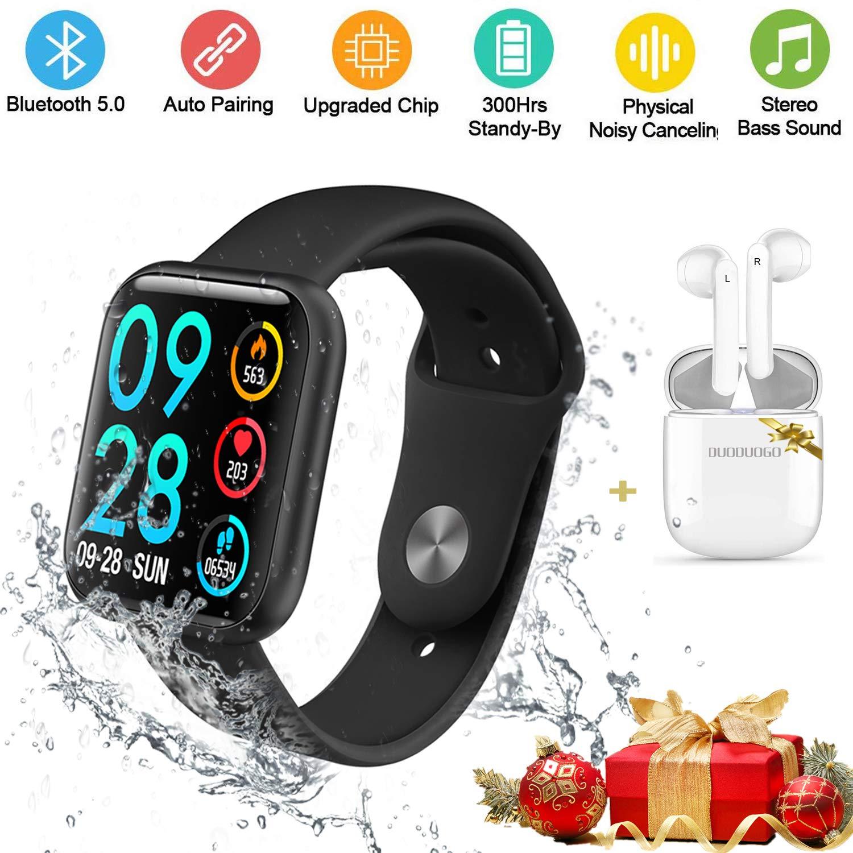 DUODUOGO Smartwatch Reloj Inteligente y Auriculares Bluetooth Inalámbricos, Reloj Deportivo Rastreadores Impermeable Hombre Mujer IP68 1.3 Pantalla ...