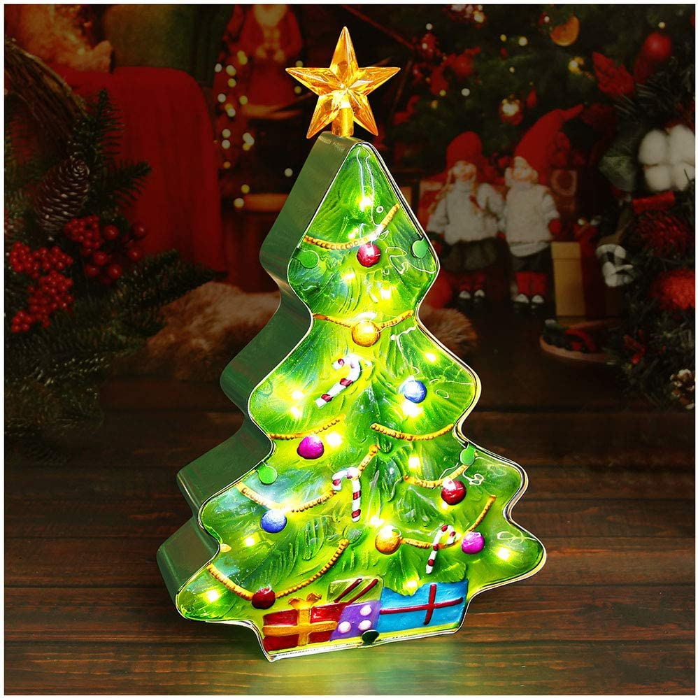 DenicMic Tabletop Christmas Tree: 14 inch Light up Small Ceramic Christmas Tree with Music, Glass Metal Battery Operated LED Tree Lamp, Indoor Hanging Decorations