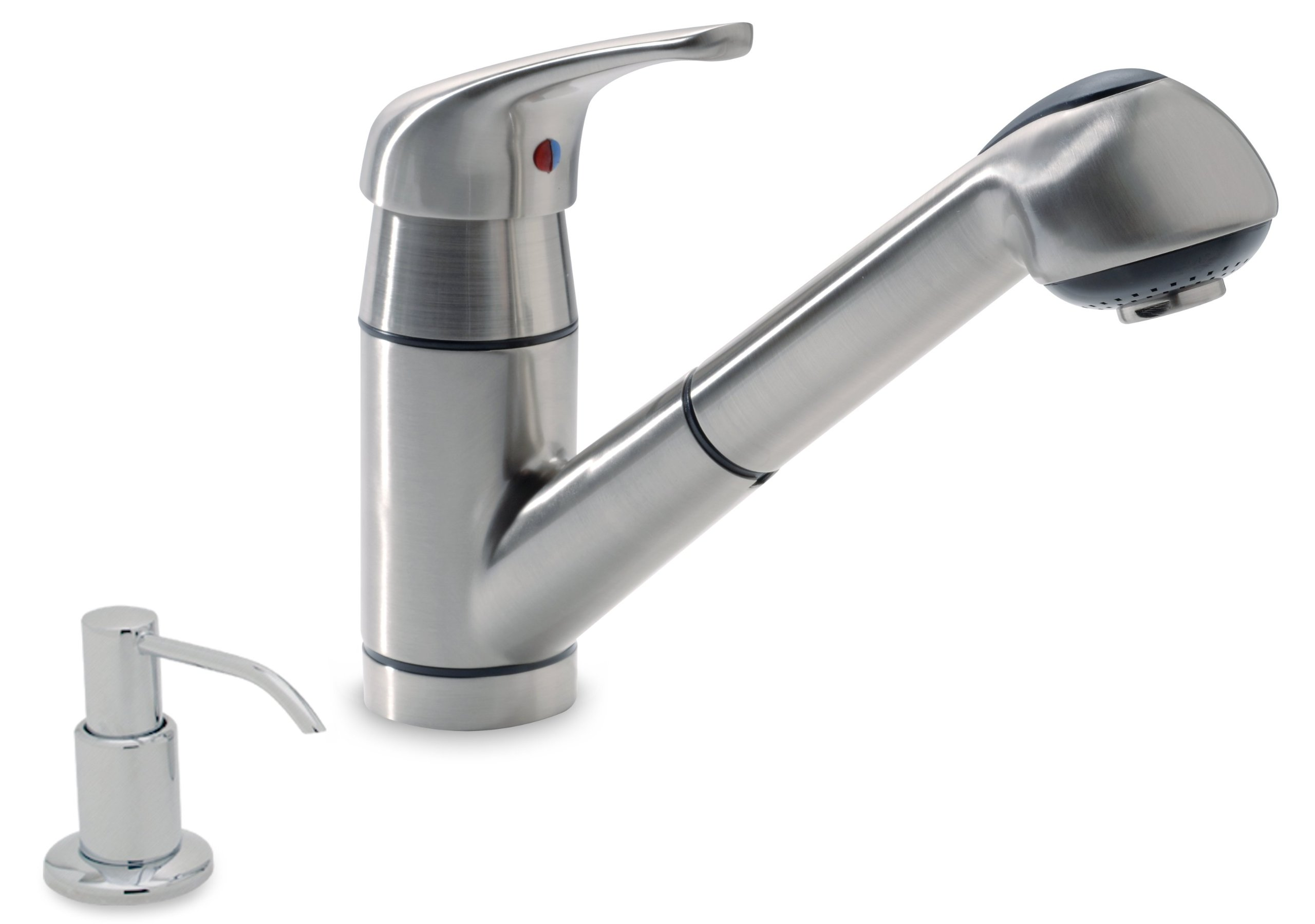 Ambassador Marine Universal Collection Pull-Out Galley Faucet with Soap Dispenser, Brushed Nickel
