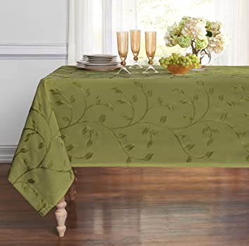 Beautiful ME Madison Embroidered Leaf Tablecloth (Sage, 54u0026quot; X ...