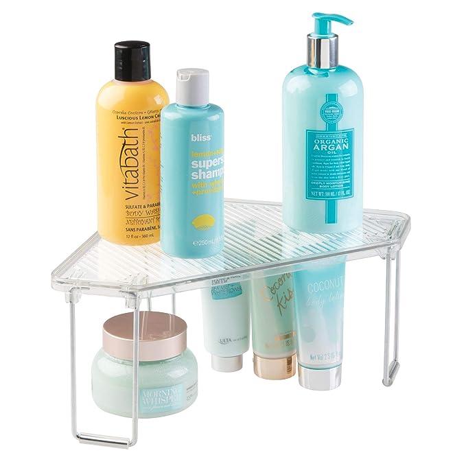 mDesign Juego de 4 estanterías rinconeras para baño - Estantes de baño de pie  para el lavabo - De plástico de calidad - Organizadores de baño con 2  estantes ... 8b286fe5d43b