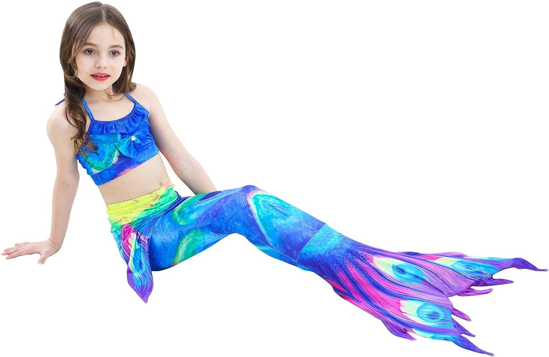 Paisdola Cosplay Coda di Sirena Principessa Bikini Set 7 Pezzi Costume da Bagno Sirena