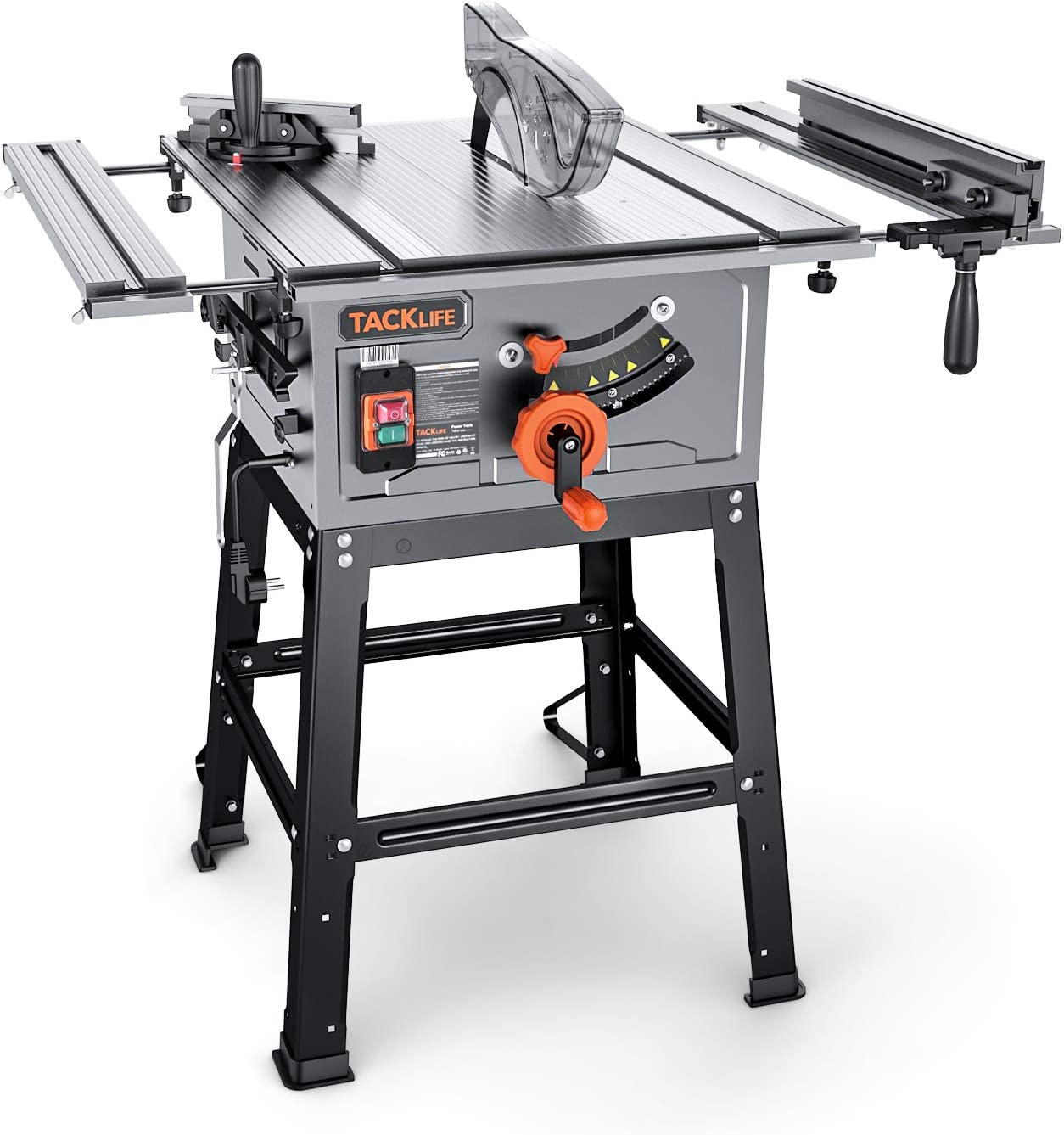 Extension Table, 45ºBevel Cutting, Jobsite Table Saw with Stand, Push Bar & Miter Gauge