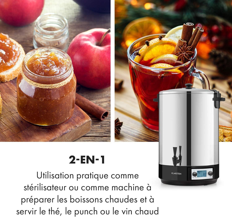 Stérilisateur Digital /& distributeur de boissons fruits 50L 30-100° Argentée