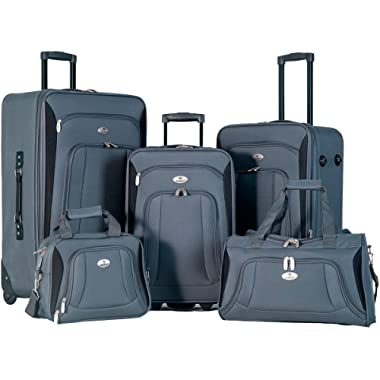 Flieks 5 Piece Set Expandable Rolling Suitcase Softshell Deluxe Luggage Set (Gray)