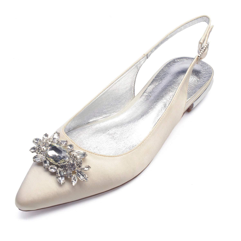 Zxstz Scarpe da donna Satin Comfort Ballerina Scarpe da sposa Tacco a punta piatta strass scintillante scintillio di fiori per le nozze