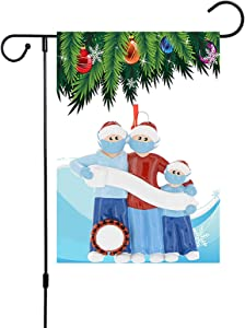 Doicuik Christmas Garden Flag - with Custom Flag Name Personalized Quarantine Family 2020 Members of 3 - Double Sided, Winter Christmas Yard Outdoor Indoor Xmas Decoration 12.5 x 18 Inch