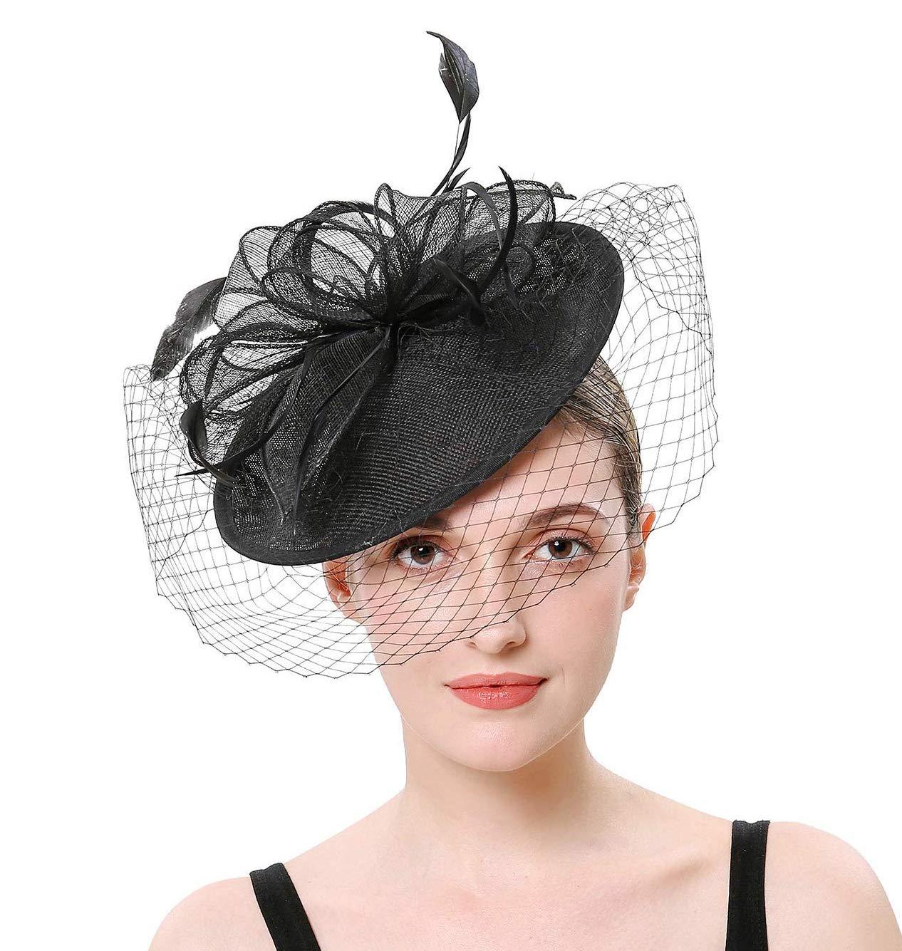 Hilary Ella Flax Net Face Veil Feather Fascinator for Women Cocktail Tea Party Derby Wedding Fascinators Hat by Hiary Ella