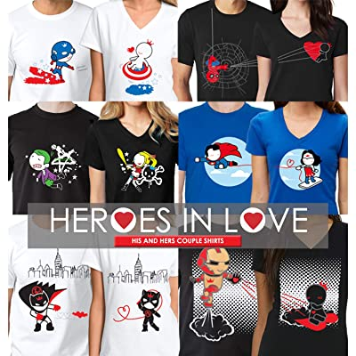MY HEART BELONG TO HER HIM PRINTED T-SHIRTS FUNNY COUPLES TEE GIFT NOVELTY