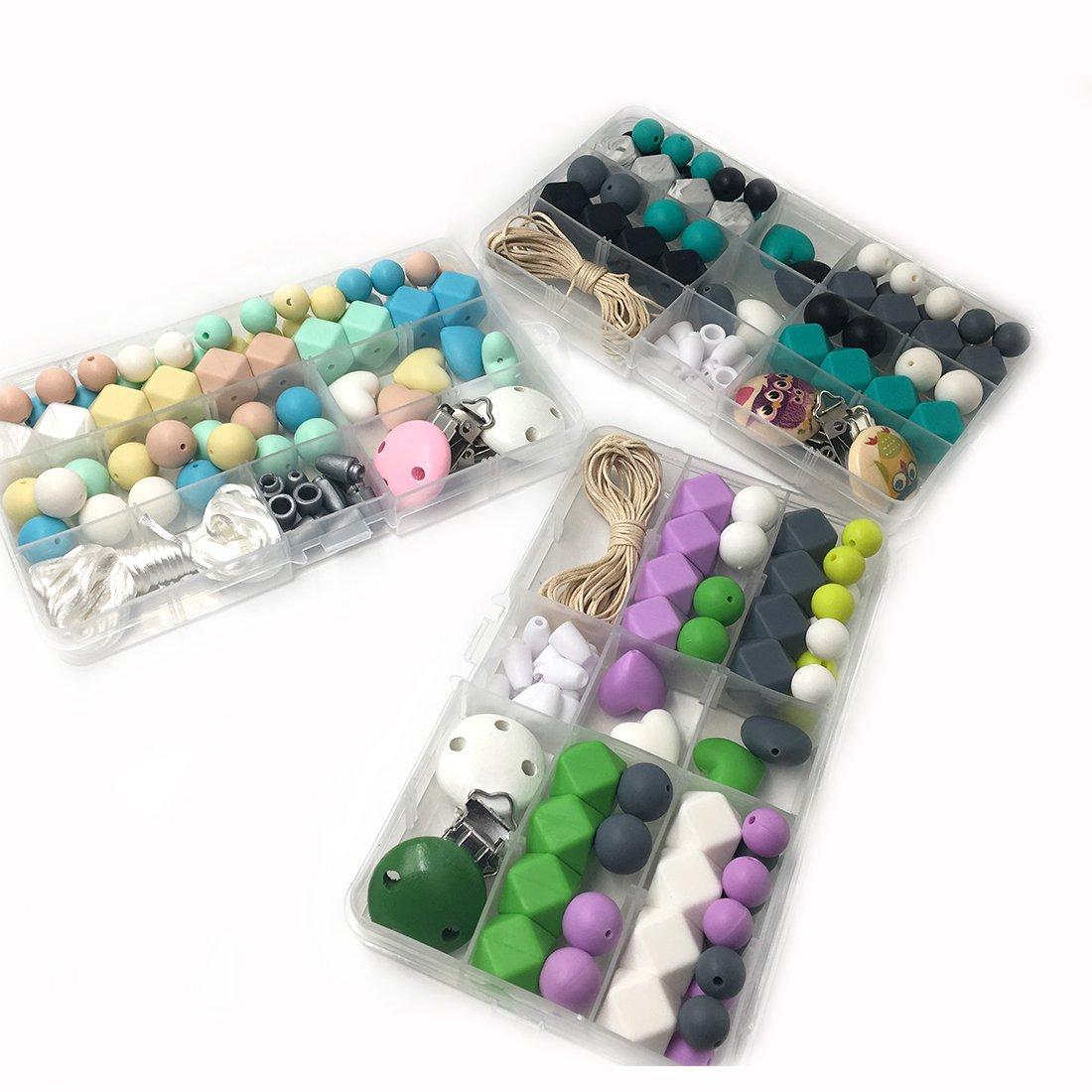 Coskiss DIY Krankenpflege Halskette Kit 3 Boxed Mixed Farbe Geometrie Hexagon Silikon Perlen Herz-Shaped Silikon