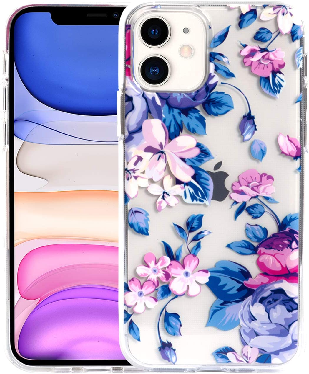 """Sephonie Flower Case for iPhone 11 (6.1""""), Floral Pattern Clear Slim Fit Ultra-Thin Girly Design, Shockproof Protective Hard PC Back with Soft TPU Bumper Phone Cover for Girls and Women 