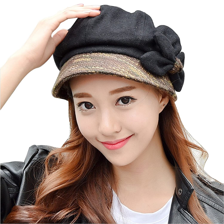 LerBen Women's Fashion Soft Wool Newsboy Cabbie Beret Cap Cloche Beanie Hat