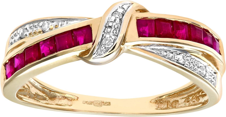 Naava Anillo para Mujer de Oro con Rubís y Diamantes