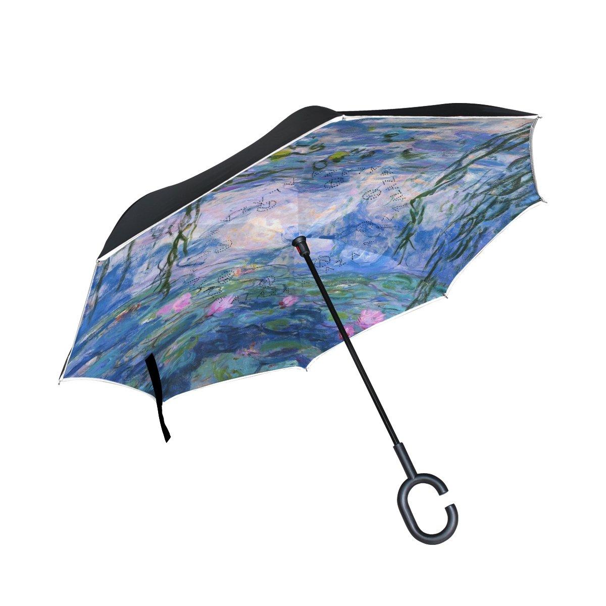 vipsk Reverse / Inverted Claude Monet Water Liliesペイント2層防水ストレート傘自立型& c-shapeハンドル&キャリーバッグforフリー、手inside-out折りたたみ車使用   B07793WMDD