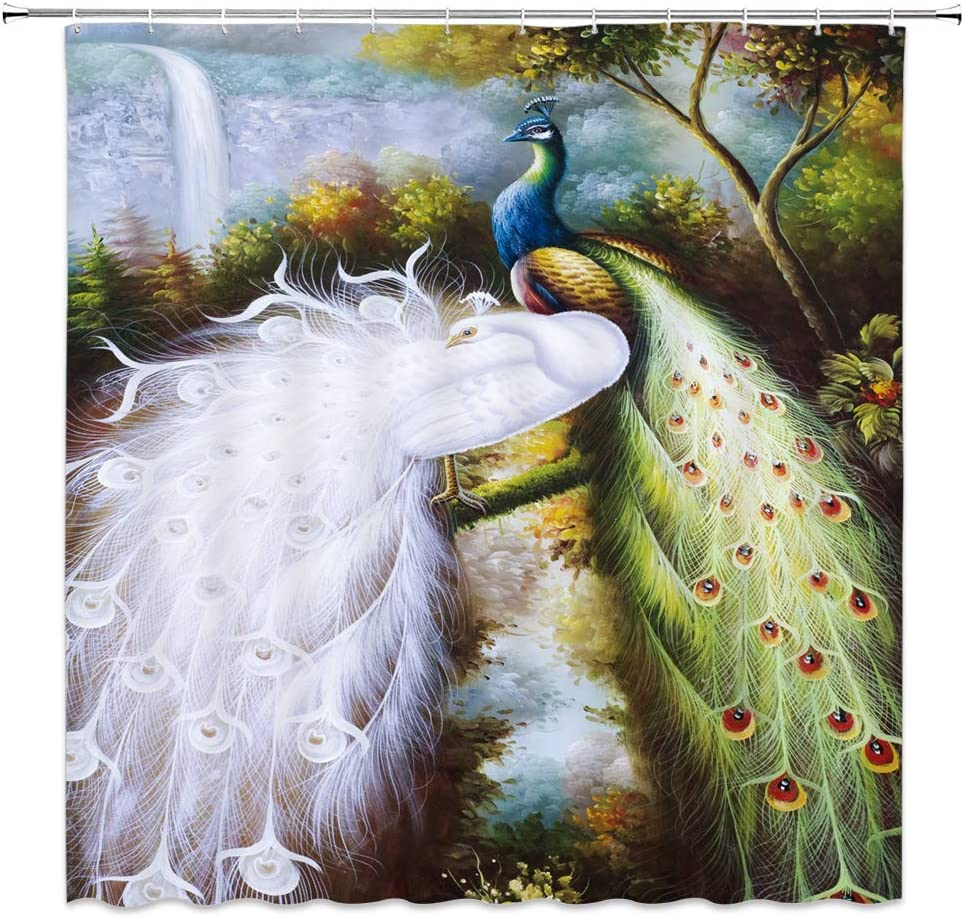 Feierman Peacock Shower Curtain Classical Decor Beautiful Chinese Painting Feather Bathroom Curtain Decor