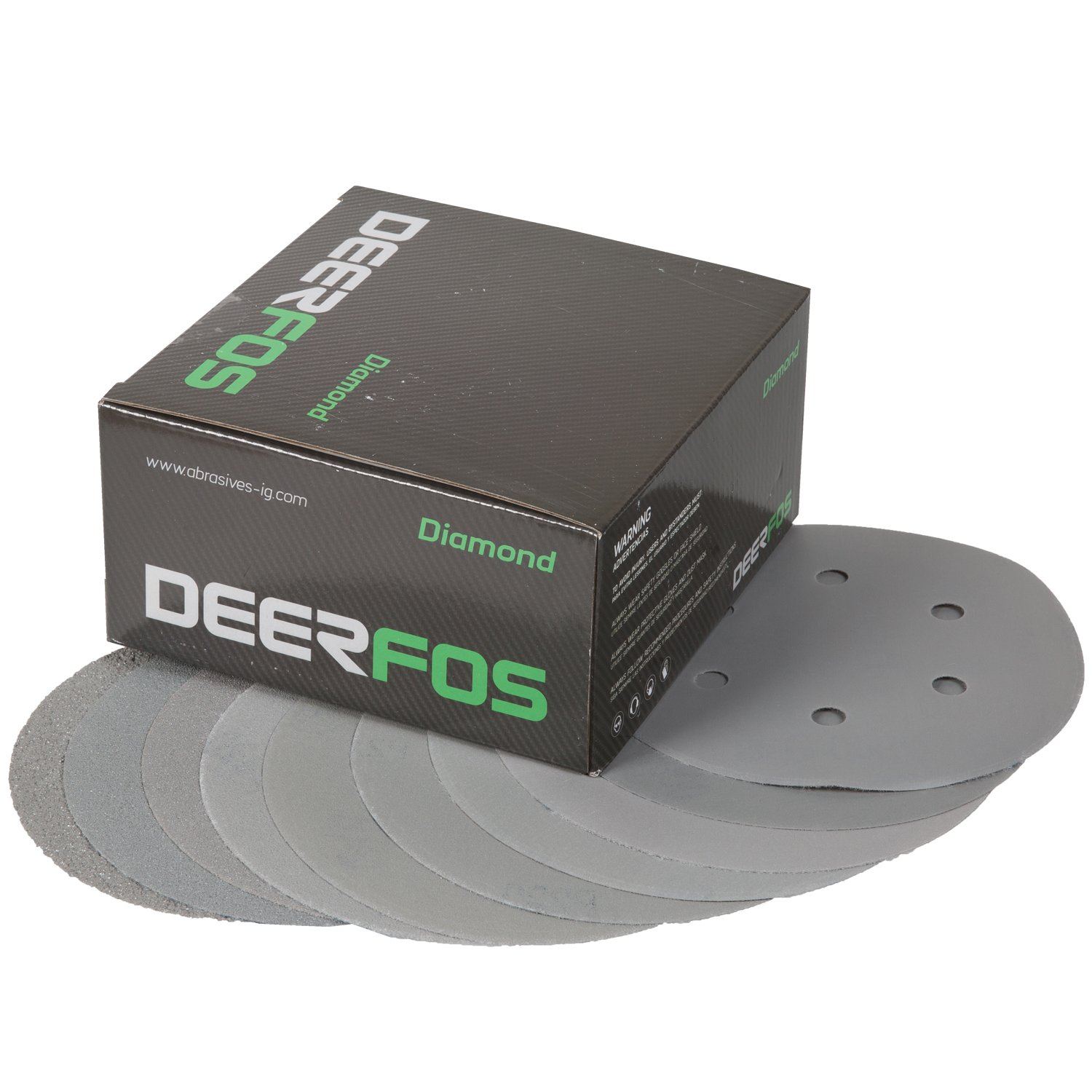 Deerfos Hook and Loop Sanding Discs 6 Inch, 100 Pack, 6 Holes, Assortment Grits including P40, P80, P100, P120, P180, P220, P320, P400, P600 and P800. Made of Aluminum Oxide and Back Film
