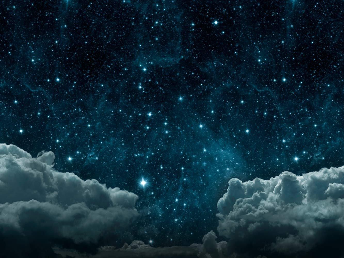 Fond de Sc/ène Th/éatre Toile de Fond La Route Nuit /Étoil/ée avec des Nuage Etoile Espace Le Noir Sur B/âche de 500 gr de 400x300 cm La B/âche Est Livr/ée Enroul/é Pour Eviter Les plis D/écoration de