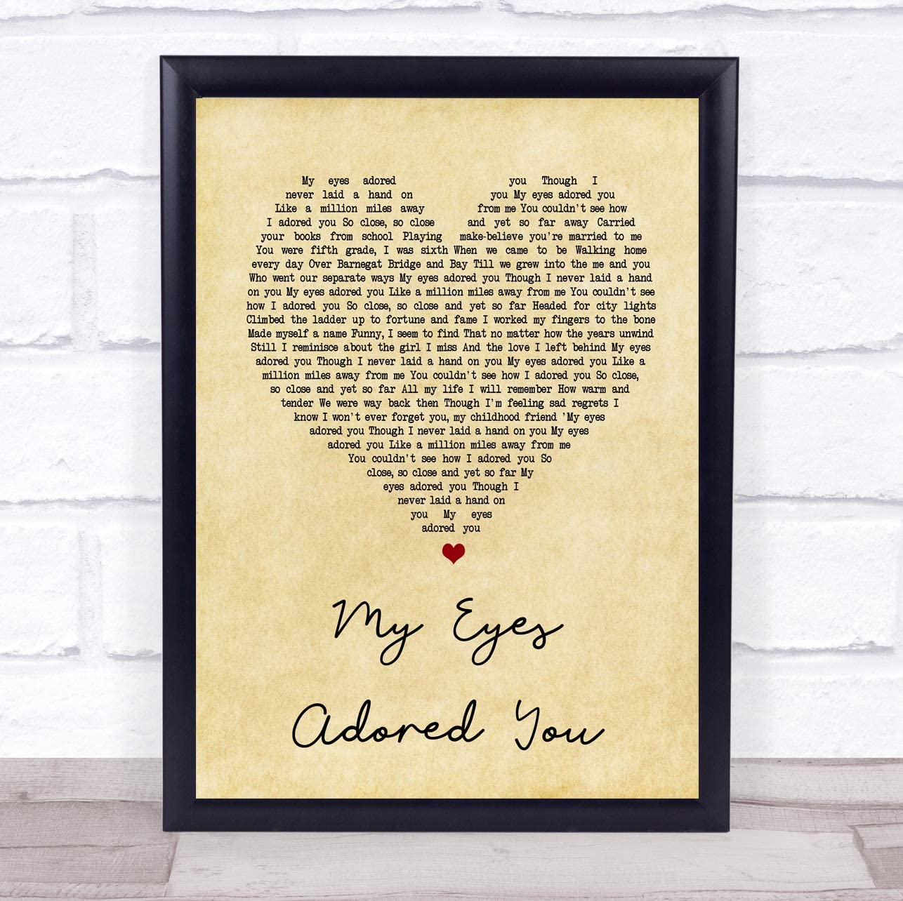 My Eyes Adored You Vintage Heart Song Lyric Quote Print