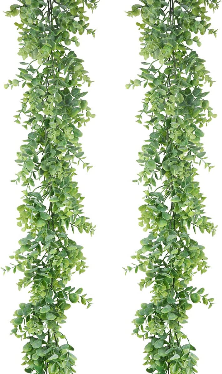 U'Artlines 2Pcs Artificial Eucalyptus Garland Fake Greenery Vine Hanging Plant for Indoor Outdoor Table Festival Party Decoration Wedding Backdrop Arch Wall Decor (2pcs Gray Green)