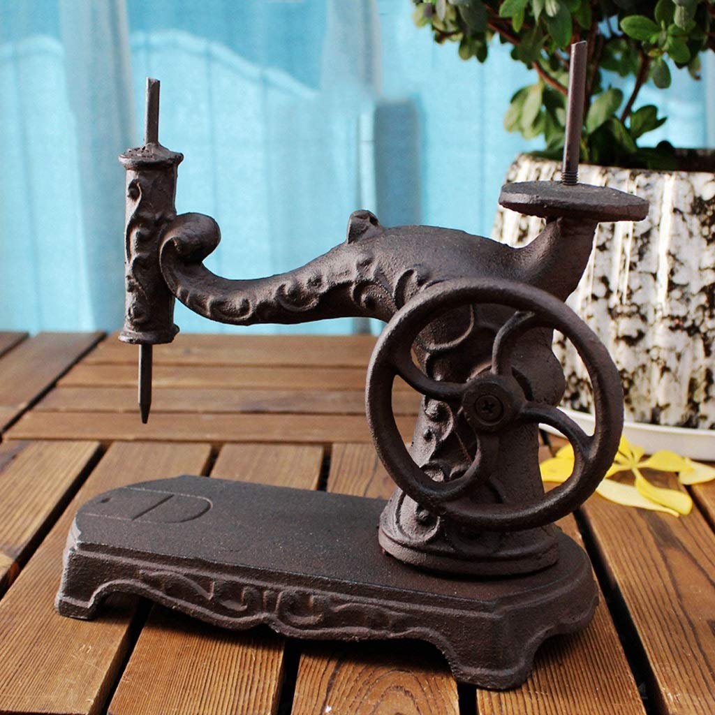 WCJ Creative Retro Sewing Machine Modeling Wrought Iron Ornaments Garden Ornaments Home Courtyard Cast Iron Crafts