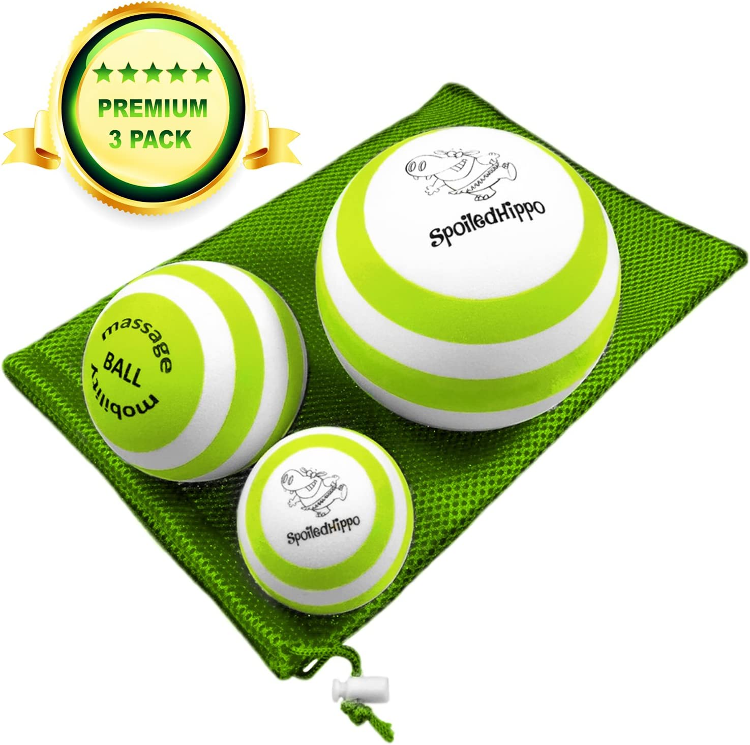 SpoiledHippo Massage Ball - Deep Tissue Massage Therapy, Myofascial Release, Trigger Point Massager - Muscle Pain Relief, Muscle Knots Foam Ball, Self Massage Physical Therapy Ball