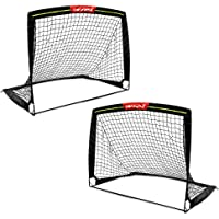 Wiel Soccer Goal, 4Ft x 3Ft Net Easy Fold-Up Training Goals W' Reflective Strips for Playing at Nightfall, Set of 2 for…