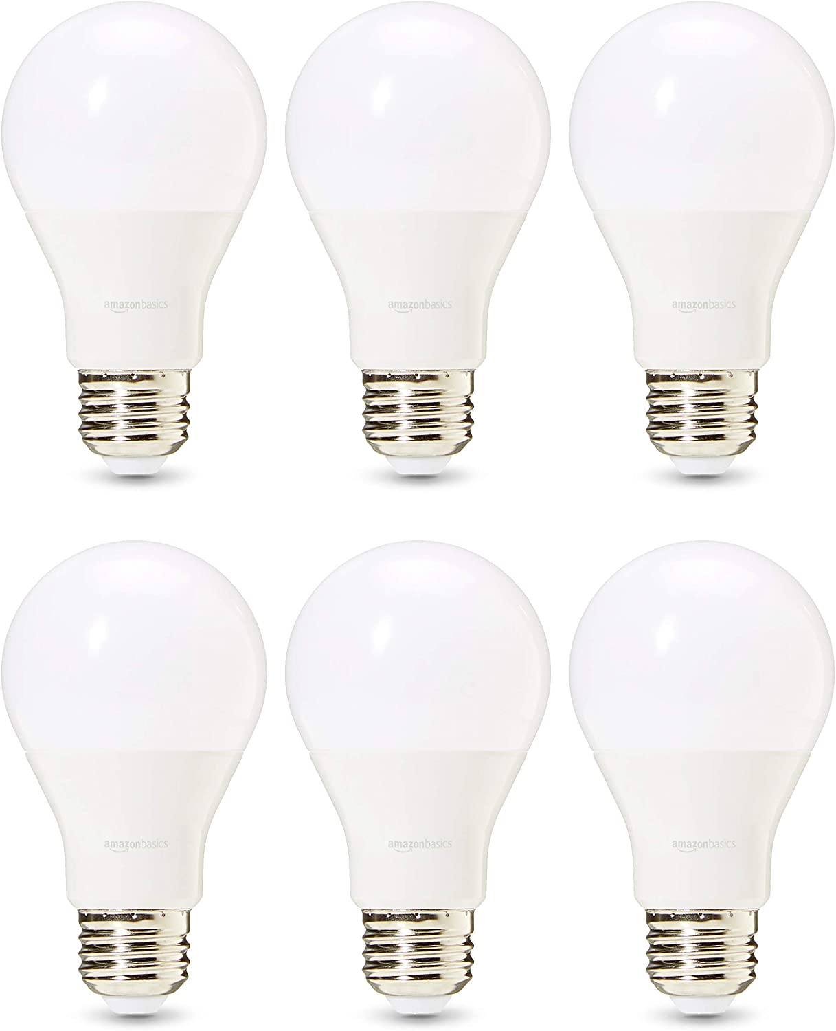 AmazonBasics Commercial Grade 25,000 Hour LED Light Bulb | 75-Watt Equivalent, A19, Soft White, Dimmable, 6-Pack