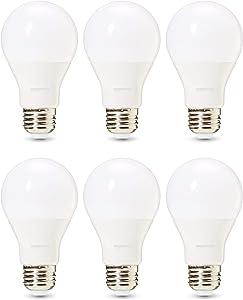 AmazonBasics Commercial Grade 25,000 Hour LED Light Bulb | 75-Watt Equivalent, A19, Soft White, Dimmable, 6-Pack