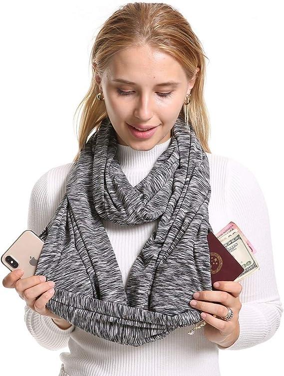 BIAOSU Infinity Scarf With 2 Zipper Pockets