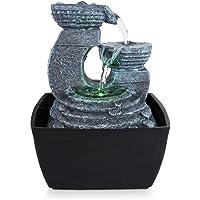 SereneLife - Fuente de agua eléctrica de computadora de 3 niveles con LED, para interiores y exteriores, portátil, mesa decorativa, meditación zen y cascada, incluye bomba sumergible y adaptador de alimentación de 12 V
