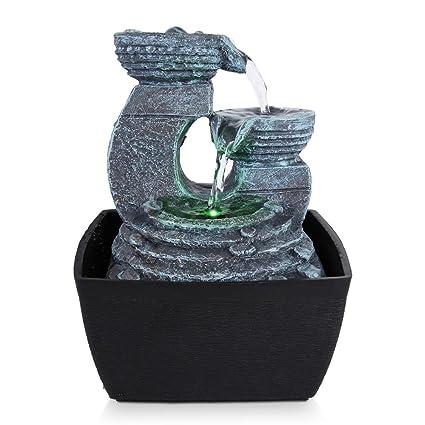 SereneLife 3 Tier Desktop Electric Water Fountain Decor W/ LED   Indoor  Outdoor Portable
