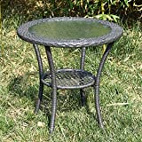 Cheap Joveco Rattan Grey Wicker Outdoor Backyard Bistro End Table with Glass Top