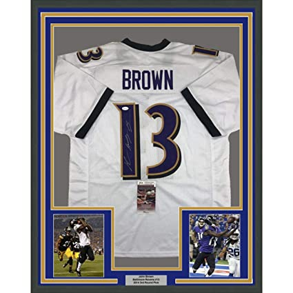 0950dce59 Framed Autographed Signed John Brown 33x42 Baltimore White Football Jersey  JSA COA at Amazon s Sports Collectibles Store