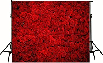 Zhy Valentine s Day Roses on Red Silk Curtain Vinyl Photography Background Romantic Wedding Party Lover Couples Photo Shoot Portrait Studio Props 7X5FT