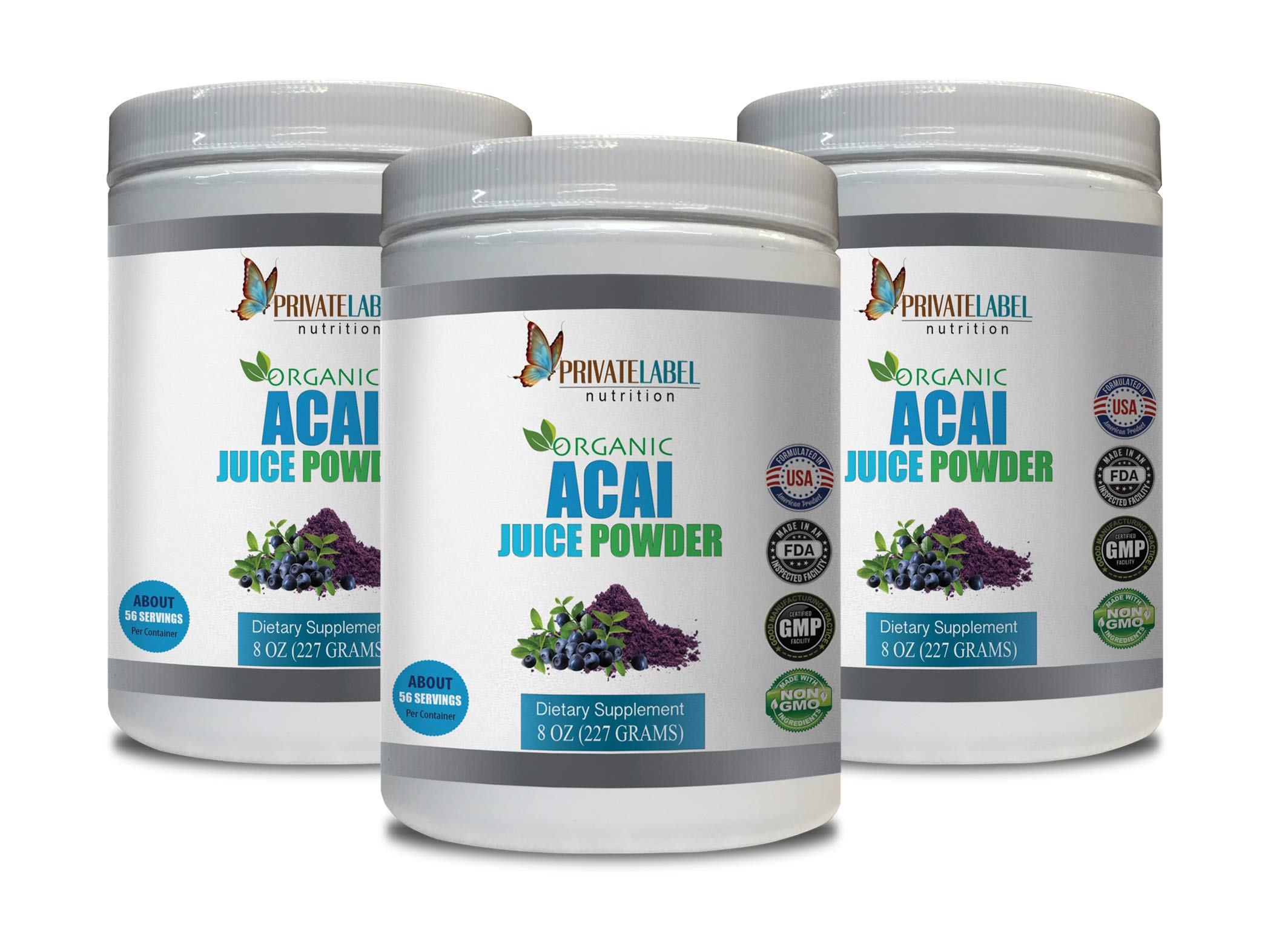 Cardiovascular Enhancement - ACAI Organic Juice Powder - Natural acai Berry Juice - 3 Cans 24 OZ (195 Servings)