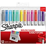 Sharpie Permanent Markers with Storage Case, Ultra Fine Point, Vibrant Colors, 12 Count