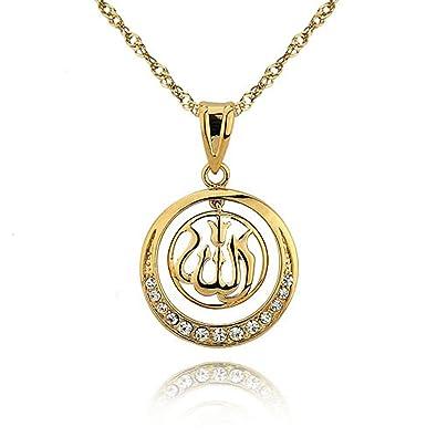 prix le plus bas a2cea cc50f Sevinora Chaîne Femme Or Collier Pendentif Allah Islam ...