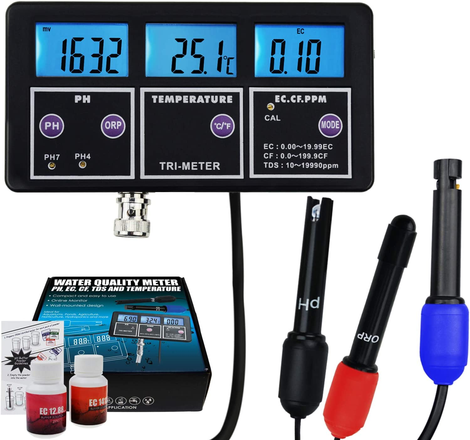 Multi-parameter Water Quality Monitor Tester pH ORP EC CF TDS PPM Temperature
