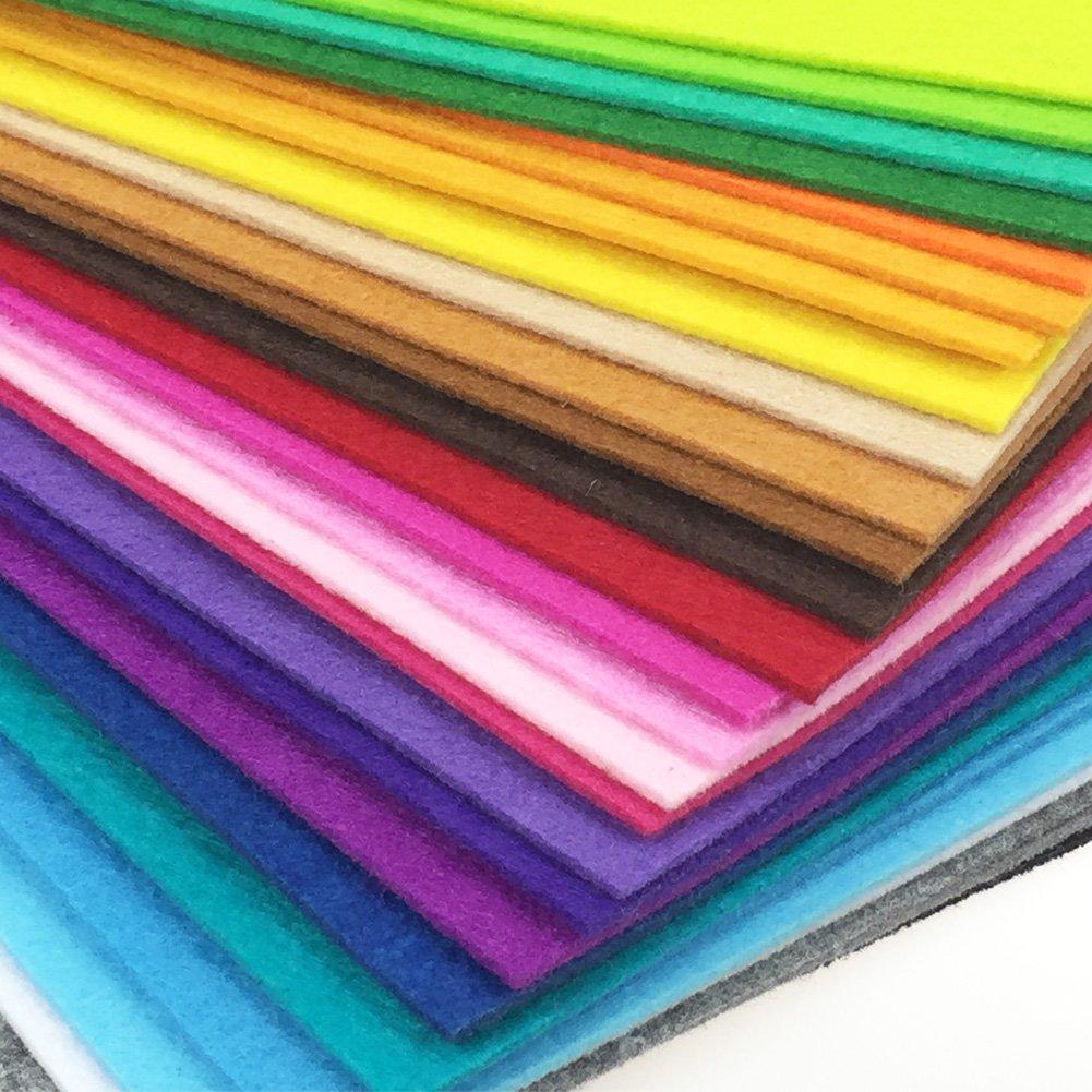 flic-flac 28pcs Thick 2mm 12 x 8 inches (30cm x 20cm) Solid Felt Fabric Sheet Assorted Color Felt Pack DIY Craft Squares Nonwoven WJCR-FB-BZ228-2030