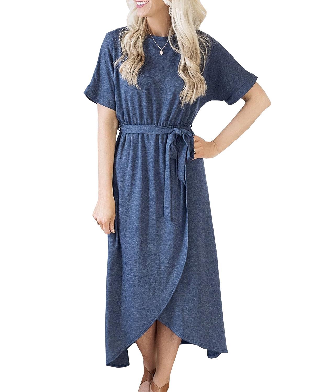 YeMgSiP Womens Short Sleeve Shirt Dress High Waist Front Slit Casual Wrap Party Dress with Belt