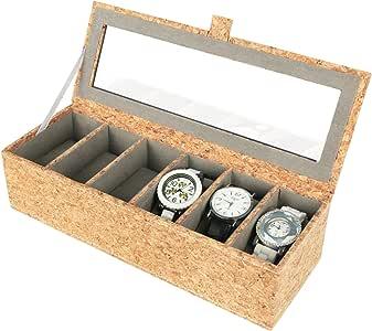 Vox Relojes Caja piel hombre negro reloj maletín Caja, corcho ...