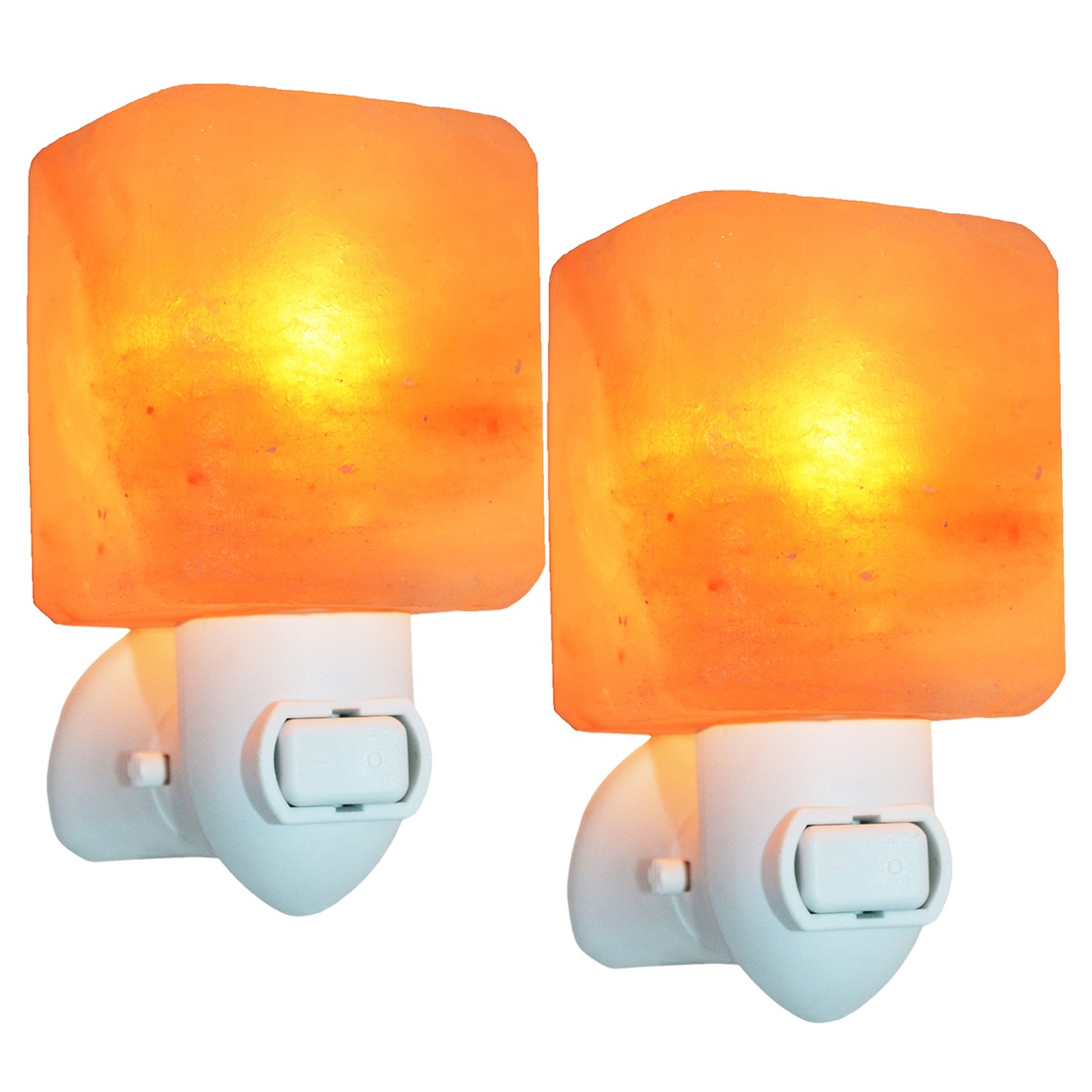 MaymiiHome 2 Pack Cube Mini Himalayan Salt Night Light Plug in Wall Lamps Night Light Crystal Salt Lamp Natural Air Purifier and Soft Night Light for Living Dining Bed Room and Office